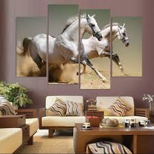 aliexpress com buy 4 piece canvas art two horse paintings for