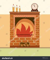 brick fireplace old clocks candles interior stock vector 433057201