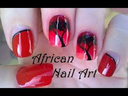 african nail art design red ombre nails tutorial with sponge