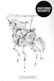 steampunk unicorn ink drawing art prints art by lana chromium san