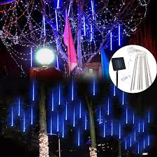 led meteor shower tube lights solar powered 30cm 8 tube led meteor shower rain garden tree outdoor