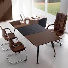 bureau en cuir bureaux de direction bureau cuir bicolore et chrome foncé