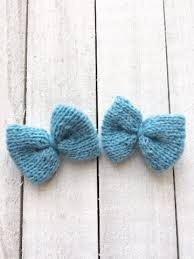 blue bows light blue knit hair bows be ewenique boutique