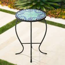 Outdoor Accent Table Ocean Wave Mosaic Black Iron Outdoor Accent Table 15a15 Lamps