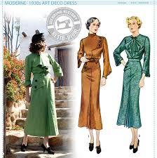 historical pattern review moderne 1930s art deco dress pattern wearing history