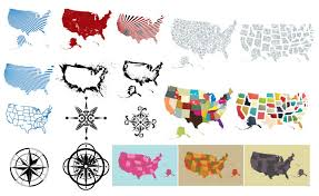 map of usa with compass of the usa vector pack for adobe illustrator
