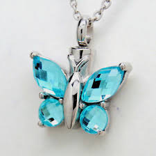 butterfly urn blue topaz color cz butterfly cremation urn necklace ashes