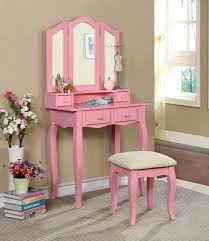 Dressing Vanity Table Claudia Pink Makeup Vanity Table With Mirror And Bench Dk6846