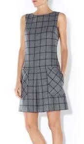 blue and white sleeveless tweed work dress стильно pinterest