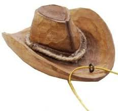 western hat ornament carved of real wood home