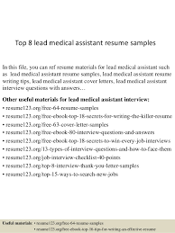Resume Examples For Medical Assistants by Top 8 Lead Medical Assistant Resume Samples 1 638 Jpg Cb U003d1437015145
