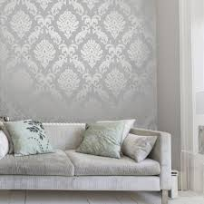 Kitchen Wallpaper Ideas Uk Henderson Interiors Chelsea Glitter Damask Wallpaper Soft Grey