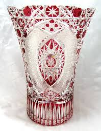 Vintage Waterford Cut Glass Crystal Vase Starburst Pattern Meissen Signed Cranberry Red Cut Glass To Clear Crystal Vase