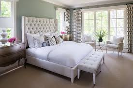 white tufted headboard bedroom contemporary with accent wall