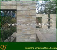 garden wall stone cladding yellow wood stone stacked strips wall