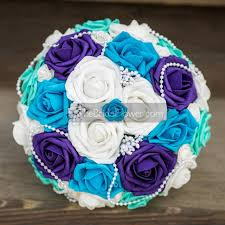 peacock turquoise wedding bouquet bridal bouquet turquoise blue and purple silk