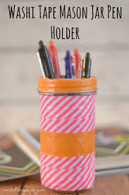 washi tape mason jar pen holder building our story