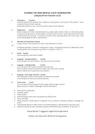 mental status exam template mini mental screen mini mental score detailed and the form