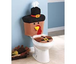 Turkey On The Table Plush Turkey Toilet Set With Gobble Sounds For Thanksgiving Day
