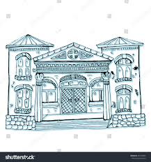 decorative home stylized city street cottages stock vector