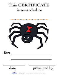 Free Printable Halloween Certificates by Printable Colored Spider Certificate