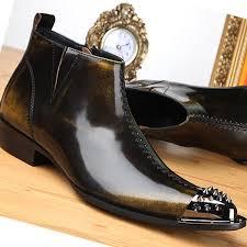 new bronze leather formal men dress ankle boots mens zipper shoes