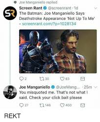 St Joe Memes - joe manganiello replied screen rant screenrant 1d the batman joe