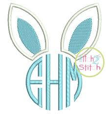 bunny ears monogram applique design for machine embroidery shown
