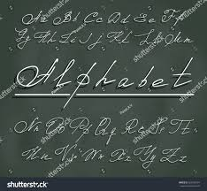 handwriting font elegant curlicues white letters stock vector