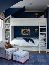 Bunk Bed Headboard Navy Boys Bedroom With Wainscoted Bunk Beds Transitional Boy S