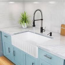 Kitchen With Farm Sink - reversible matte white stone farmhouse kitchen sinks in multiple