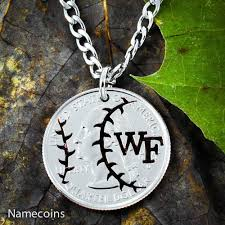 baseball jewelry baseball necklace custom initials on your coin necklace namecoins