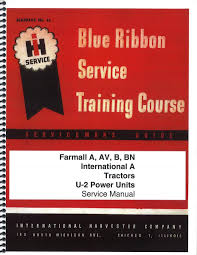 ih blue ribbon service manual books farmall parts