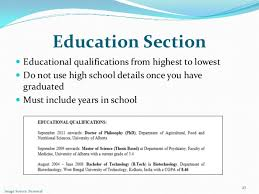 Resume Education Section Effective Cv Writing