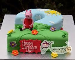peppa pig cake number cake with peppa pig nc513 amarantos cakes