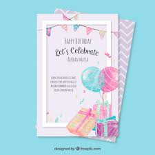greeting card birthday greeting card with watercolor elements vector free