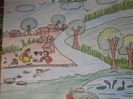 drawn village scenery pencil and in color drawn village scenery
