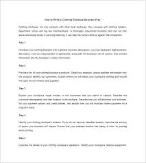 boutique business plan template 12 free sample example format