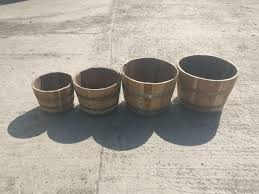 Half Barrel Planters by Brand New Acacia Chestnut Half Barrel Planters Perfect For Plants