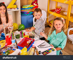 kids playroom organization children painting drawing stock photo