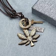 leather leaf necklace images Punk leather necklace vintage maple leaf pendant necklace for men jpeg