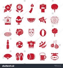 Business Email In Japanese by Japanese Summer Icon Set Japanese Stamp Stock Vector 646689754