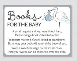 bring a book instead of a card poem stork bring a book etsy