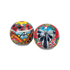 small talavera garden sphere ornaments set of 2