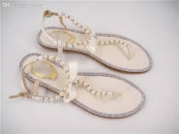 wedding shoes flats ivory wholesale free shopping rhinestones bridal sandals flat wedding