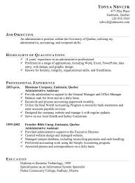 Job Objectives For Resume by Resume Sample For An Administrative Assistant Susan Ireland Resumes