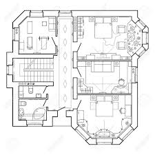 architectural plan floor plan icons black and white architectural plan of a house