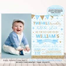 1st Birthday Invitation Card For Baby Boy Twinkle Twinkle Little Star Invitation Boys Twinkle Twinkle Little