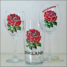 Wine Glass Gifts England Rugby Rose Glass Gift