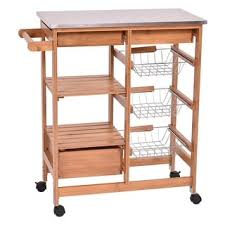 kitchen island trolley costway bamboo rolling kitchen island trolley cart storage shelf